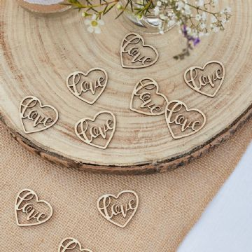 Wooden Love Heart Table Confetti